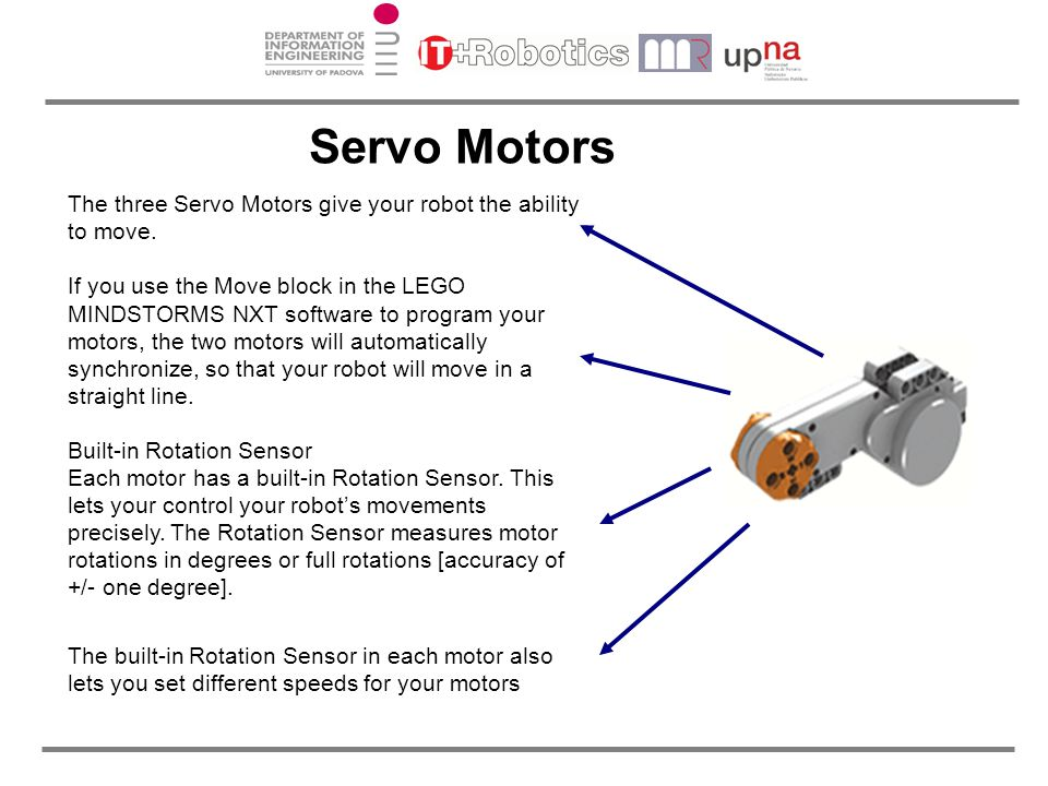 Servo Motors The three Servo Motors give your robot the ability to move.