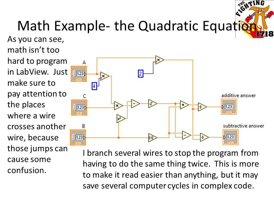 Math Example- the Quadratic Equation
