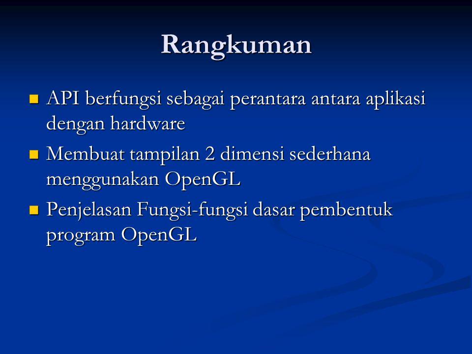 Rangkuman API berfungsi sebagai perantara antara aplikasi dengan hardware. Membuat tampilan 2 dimensi sederhana menggunakan OpenGL.
