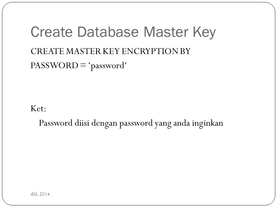 Create Database Master Key