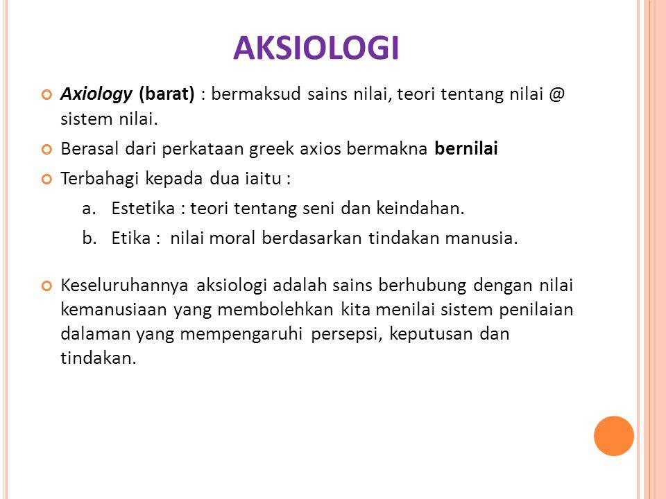 AKSIOLOGI Axiology (barat) : bermaksud sains nilai, teori tentang nilai @ sistem nilai. Berasal dari perkataan greek axios bermakna bernilai.