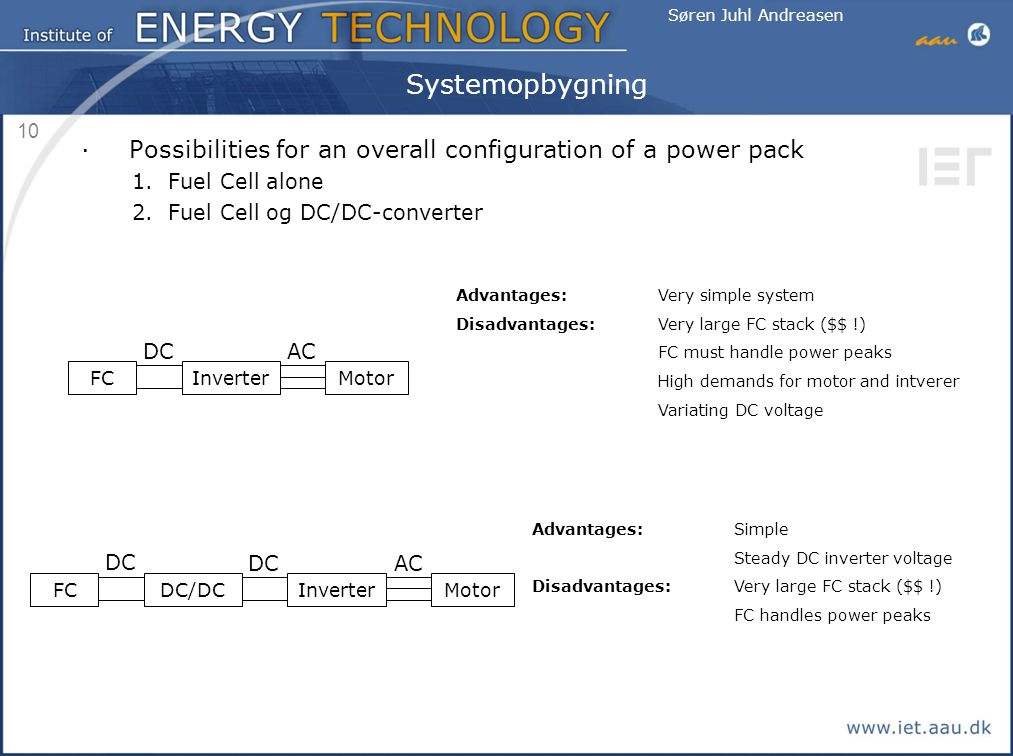 Systemopbygning Possibilities for an overall configuration of a power pack. Fuel Cell alone. Fuel Cell og DC/DC-converter.