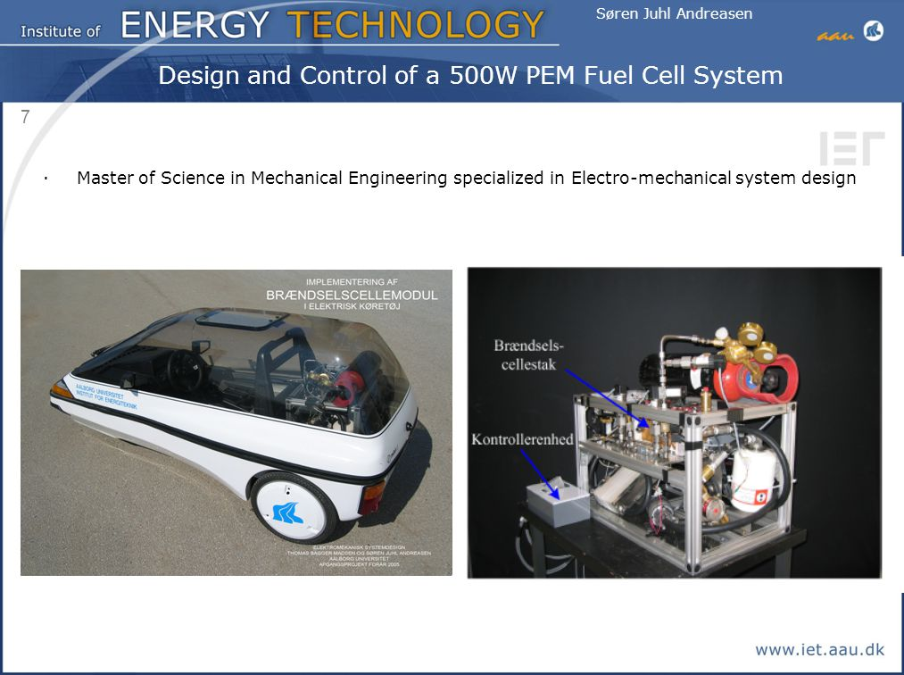 Design and Control of a 500W PEM Fuel Cell System