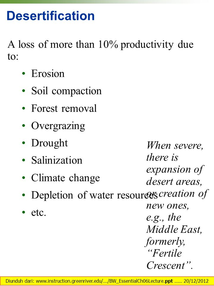 Desertification A loss of more than 10% productivity due to: • Erosion