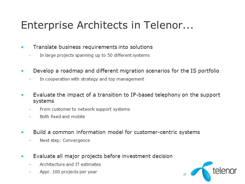 Enterprise Architects in Telenor...