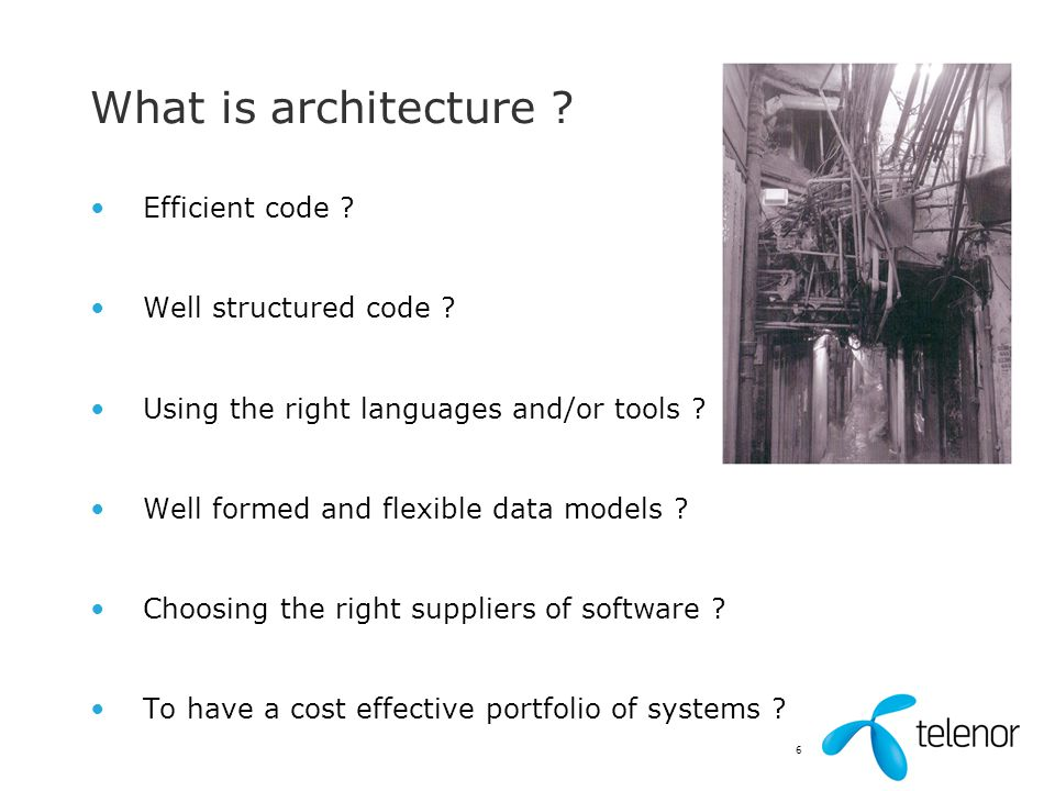 What is architecture Efficient code Well structured code