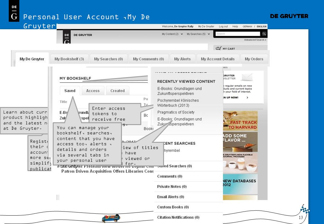 Personal User Account 'My De Gruyter'