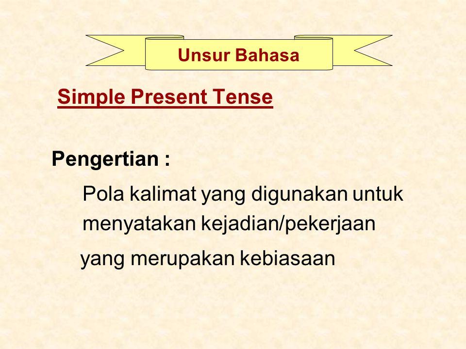 Pola kalimat yang digunakan untuk menyatakan kejadian/pekerjaan
