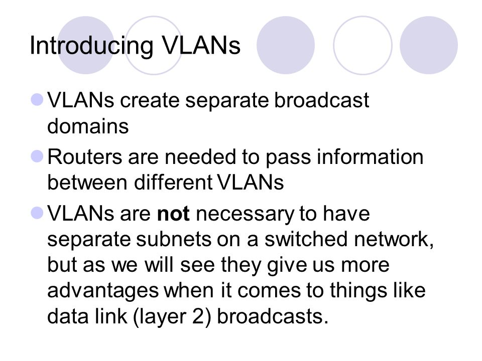 Introducing VLANs VLANs create separate broadcast domains