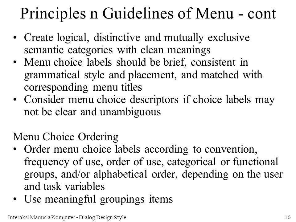 Principles n Guidelines of Menu - cont