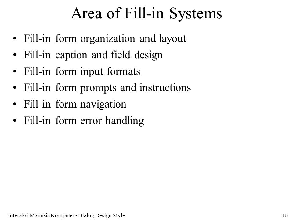 Area of Fill-in Systems