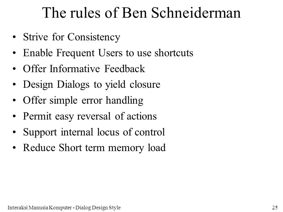 The rules of Ben Schneiderman