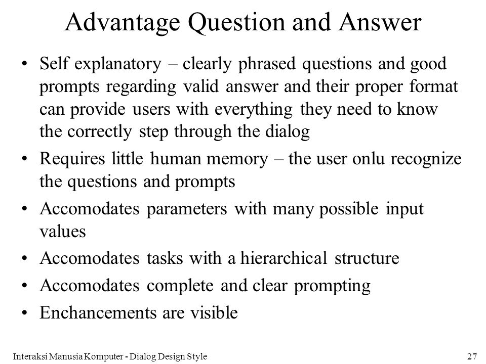 Advantage Question and Answer