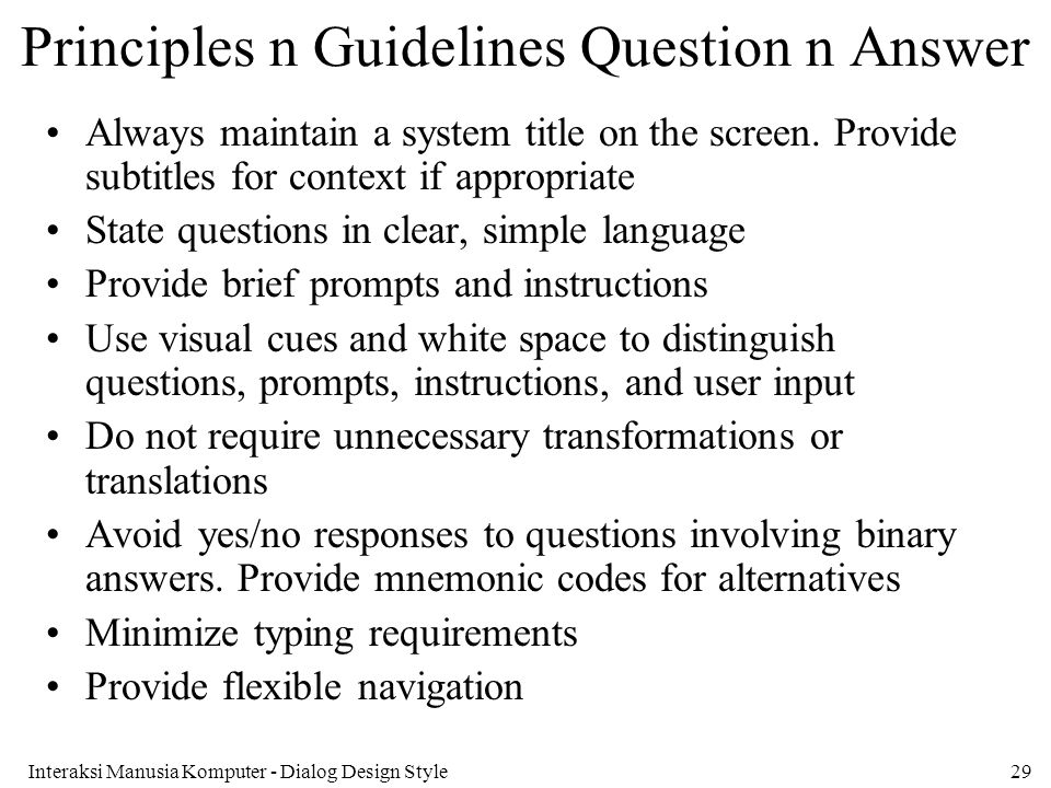 Principles n Guidelines Question n Answer