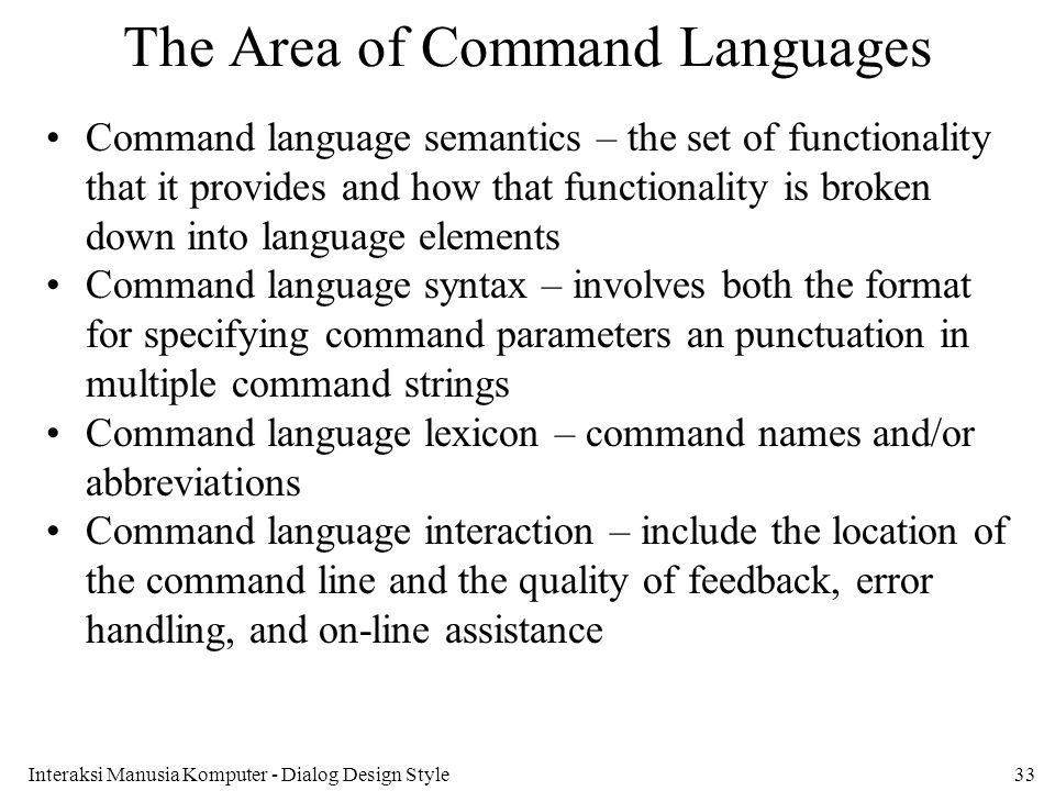 The Area of Command Languages