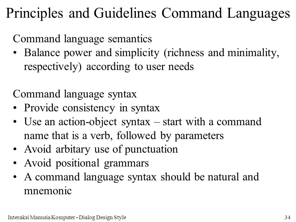Principles and Guidelines Command Languages