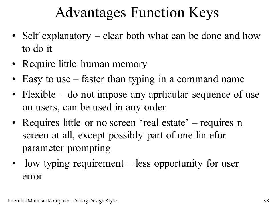 Advantages Function Keys