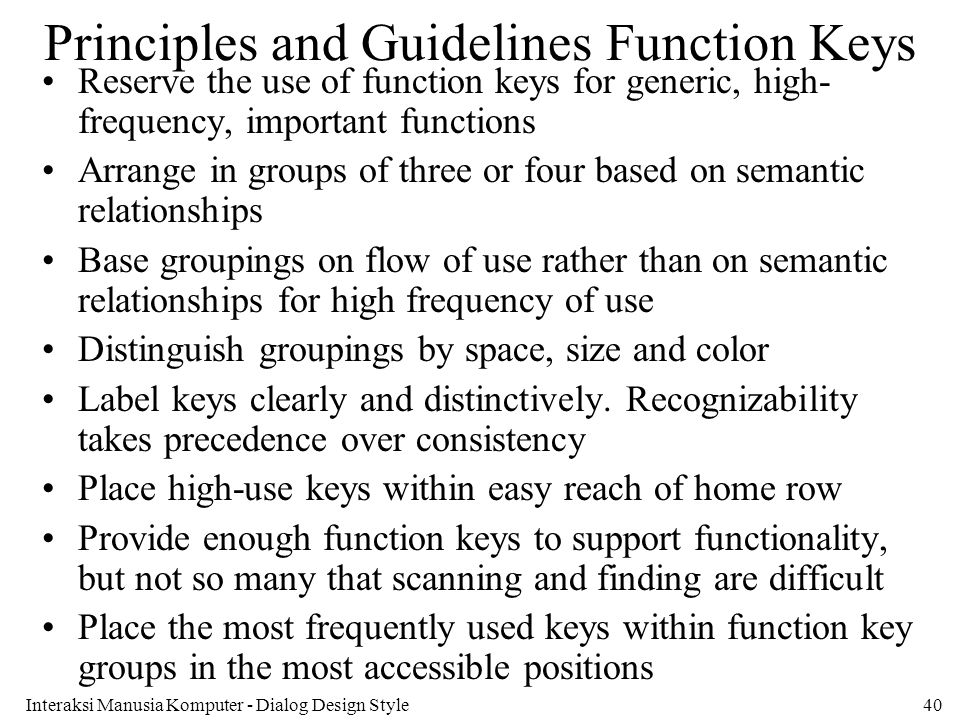 Principles and Guidelines Function Keys