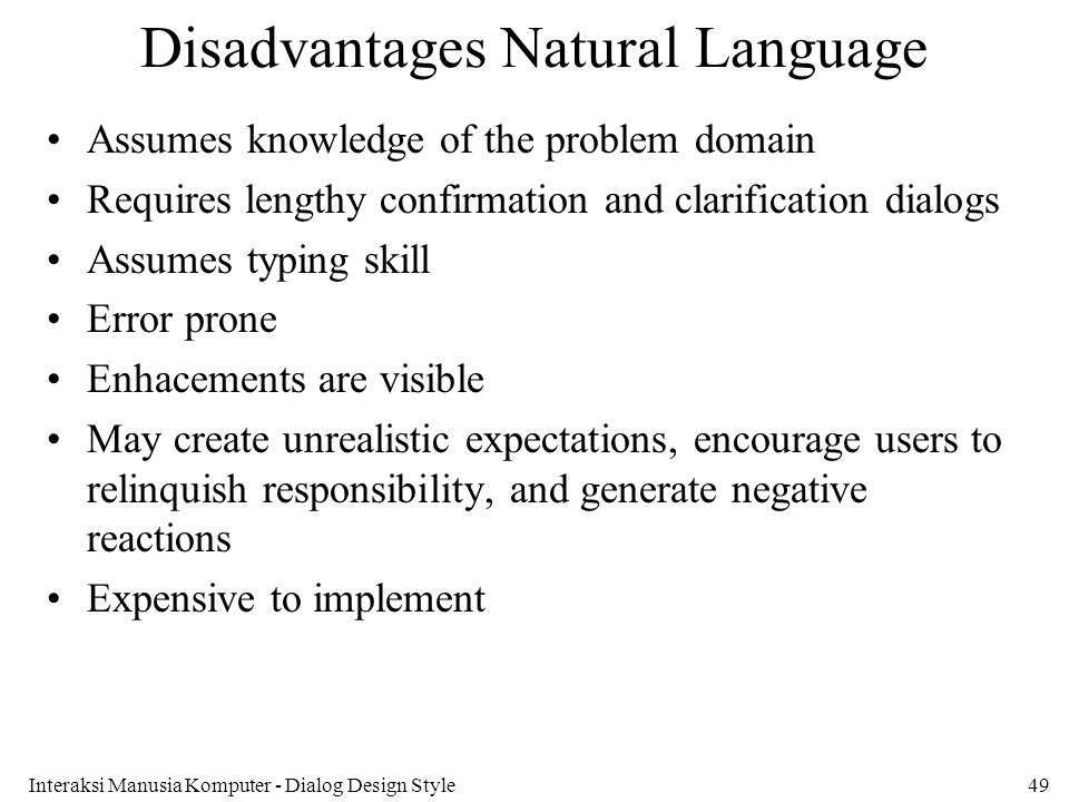 Disadvantages Natural Language