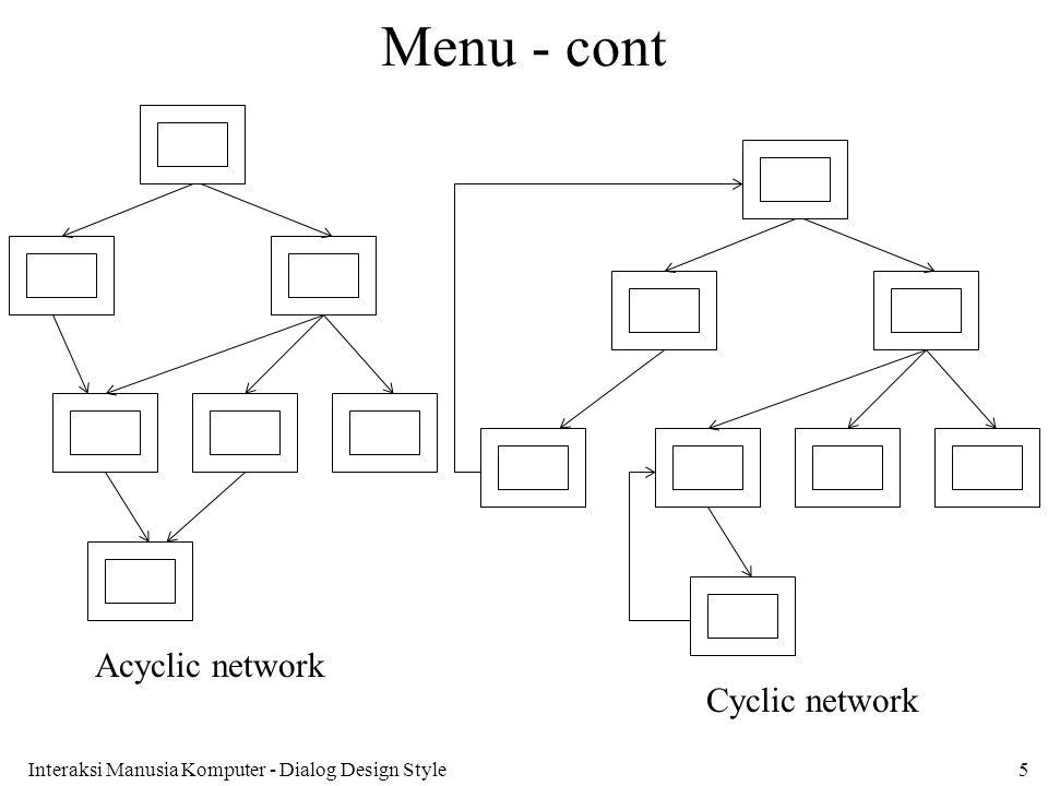 Menu - cont Acyclic network Cyclic network