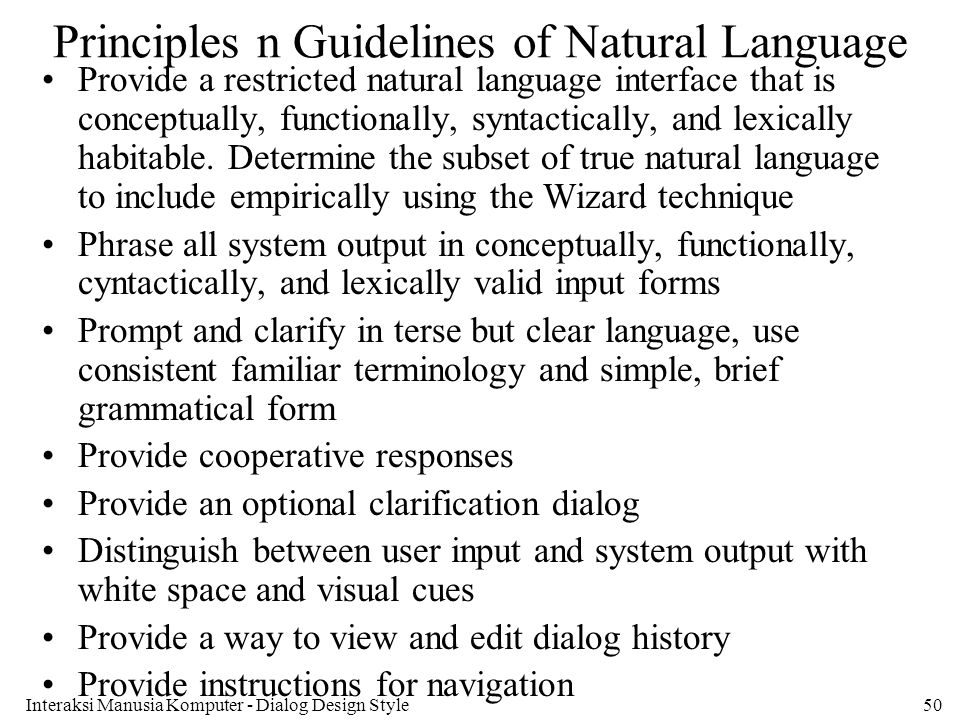 Principles n Guidelines of Natural Language