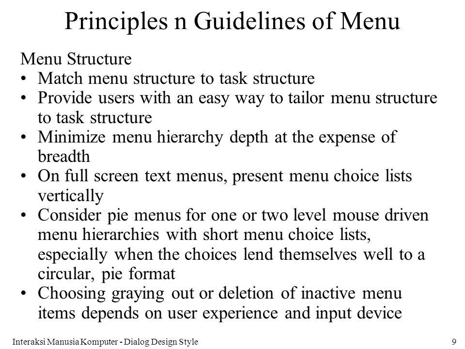 Principles n Guidelines of Menu