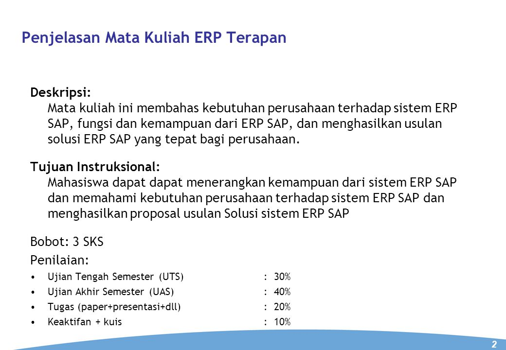 Penjelasan Mata Kuliah ERP Terapan