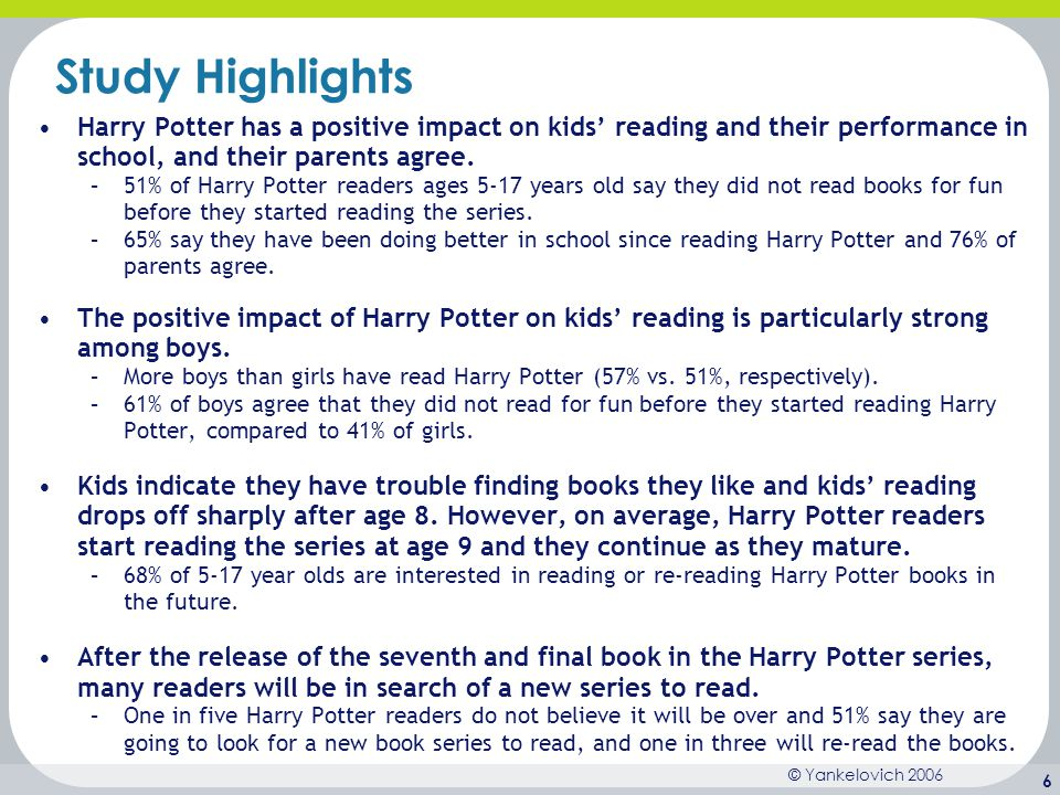 Study Highlights Harry Potter has a positive impact on kids' reading and their performance in school, and their parents agree.