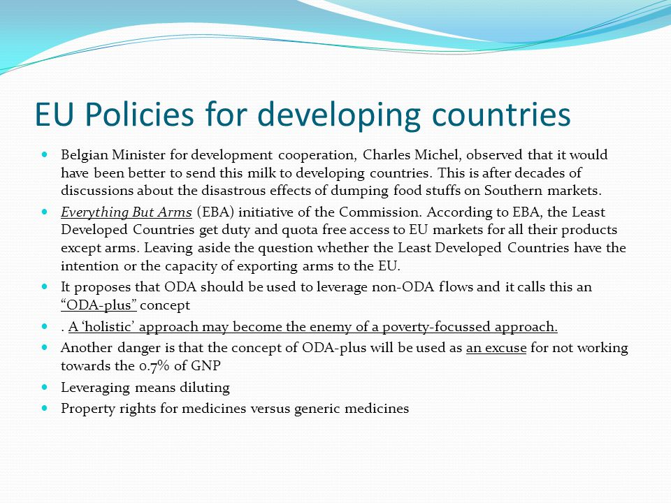 EU Policies for developing countries