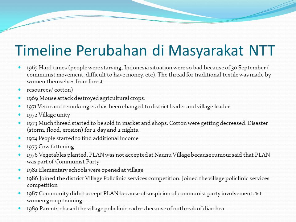 Timeline Perubahan di Masyarakat NTT