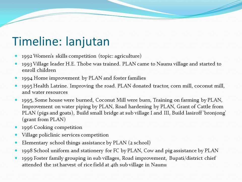 Timeline: lanjutan 1992 Women's skills competition (topic: agriculture)
