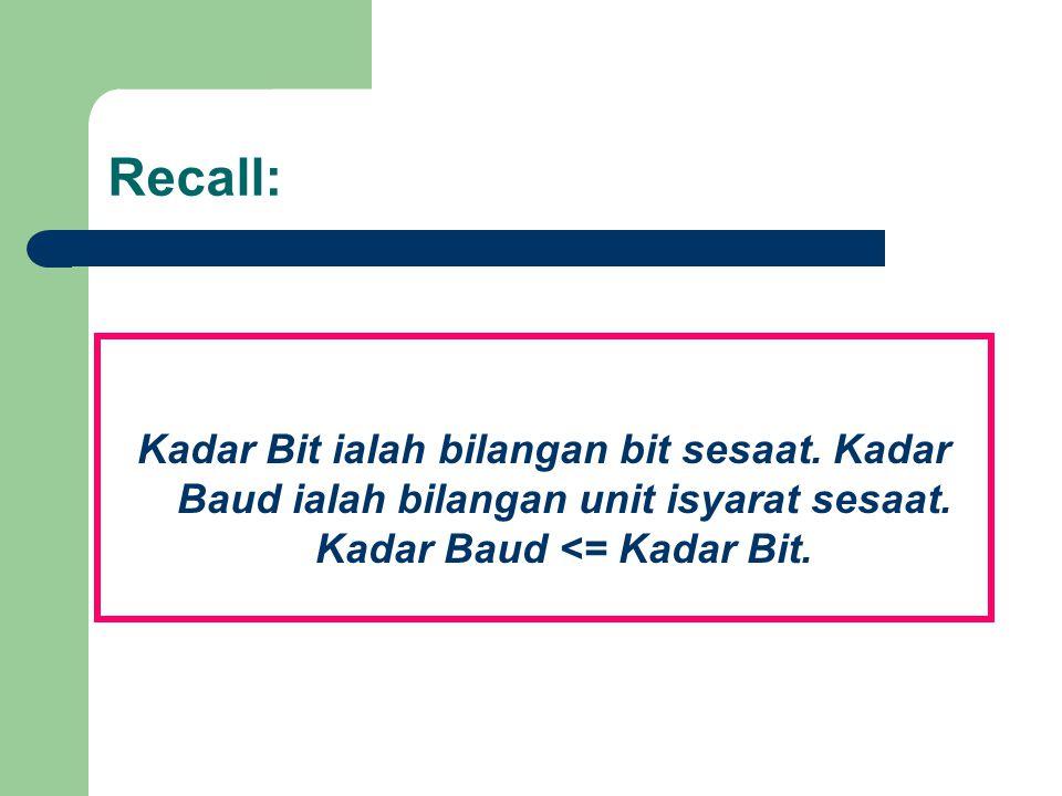 Recall: Kadar Bit ialah bilangan bit sesaat. Kadar Baud ialah bilangan unit isyarat sesaat.