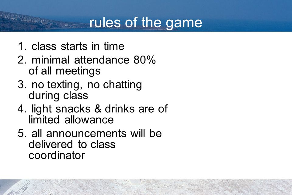 rules of the game class starts in time