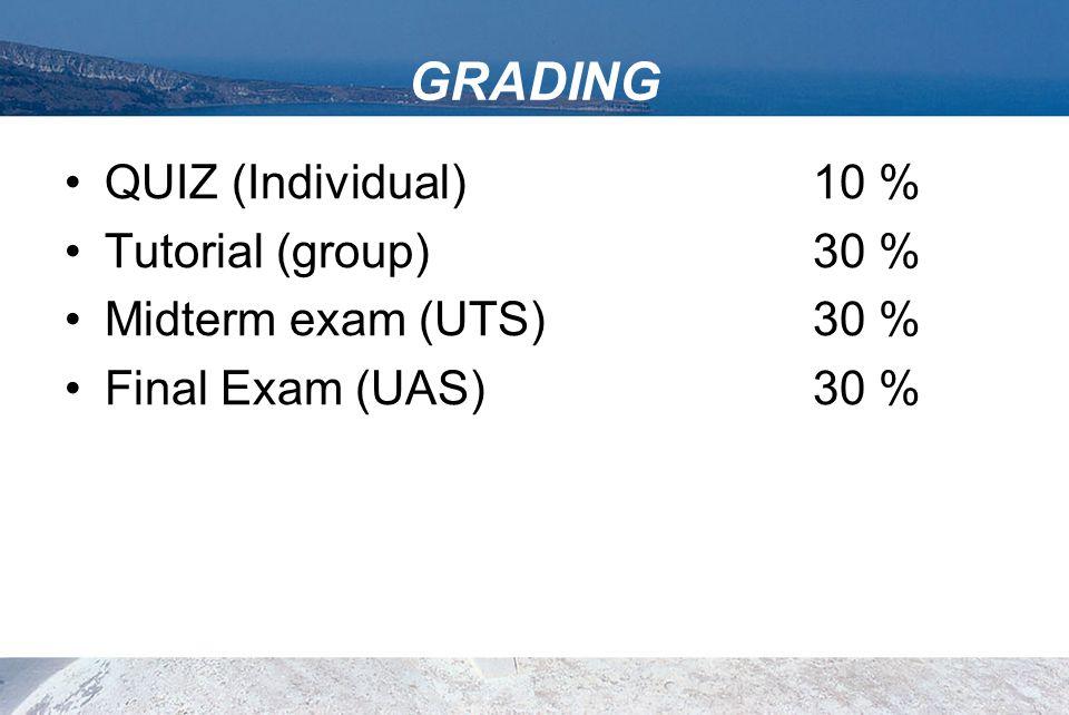 GRADING QUIZ (Individual) 10 % Tutorial (group) 30 %