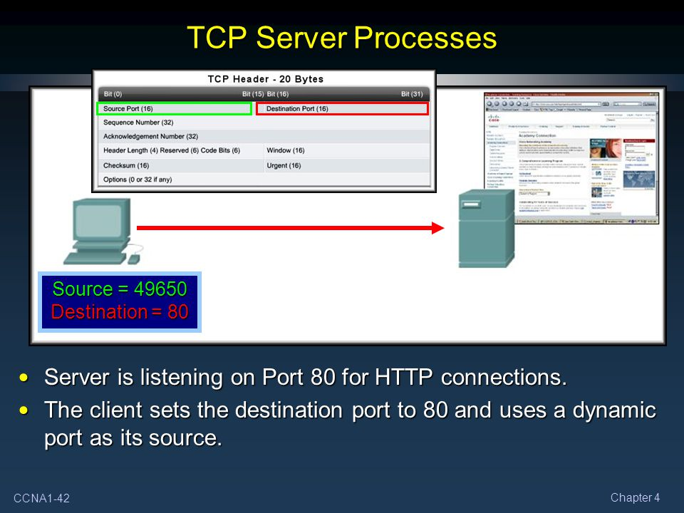 TCP Server Processes Source = 49650 Destination = 80. Server is listening on Port 80 for HTTP connections.