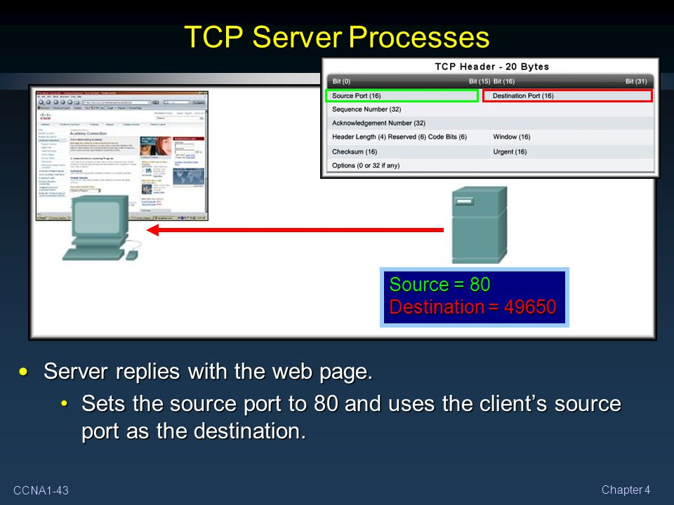 TCP Server Processes Server replies with the web page.