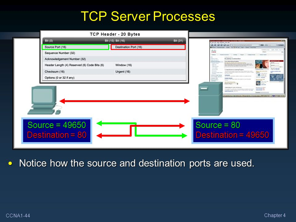 TCP Server Processes Source = 49650 Destination = 80.