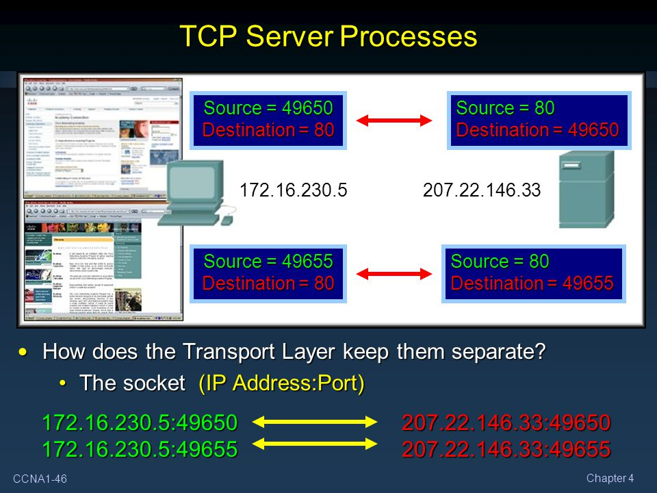 TCP Server Processes How does the Transport Layer keep them separate