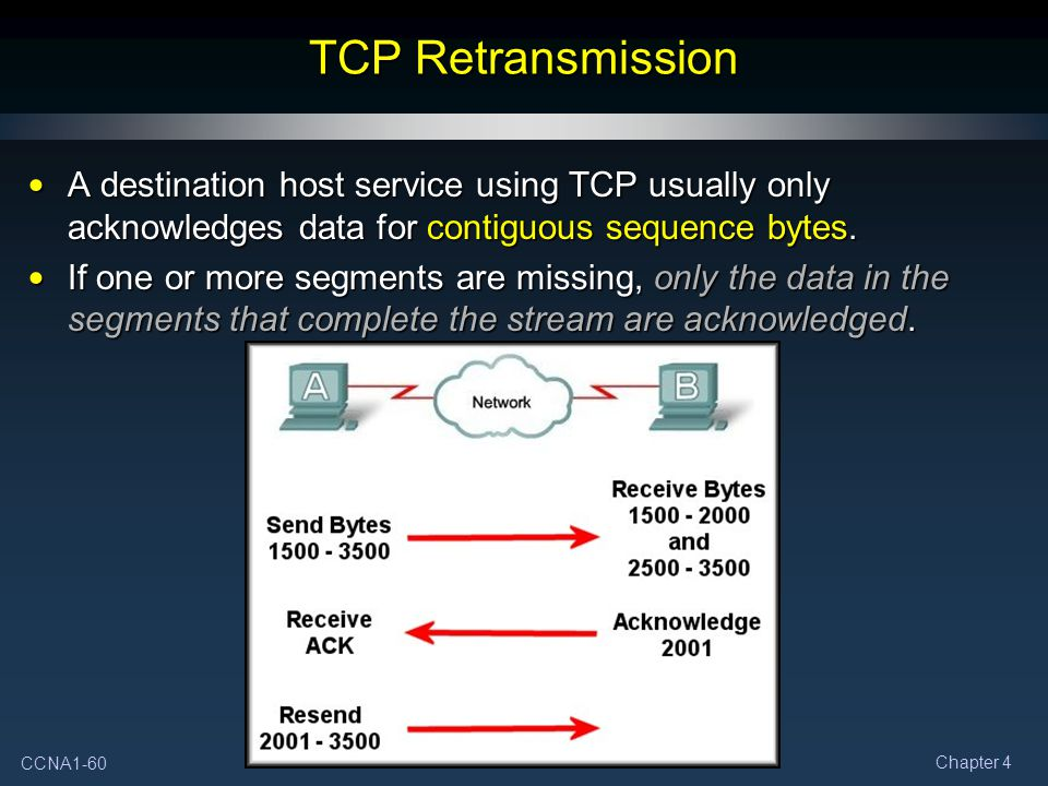 TCP Retransmission A destination host service using TCP usually only acknowledges data for contiguous sequence bytes.