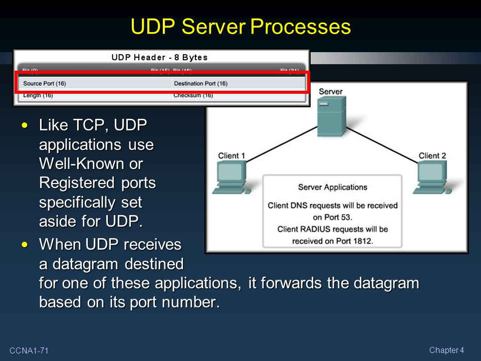 UDP Server Processes Like TCP, UDP applications use Well-Known or Registered ports specifically set aside for UDP.