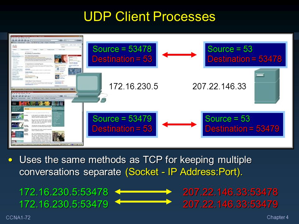 UDP Client Processes Source = 53478 Destination = 53. Source = 53 Destination = 53478. 172.16.230.5.