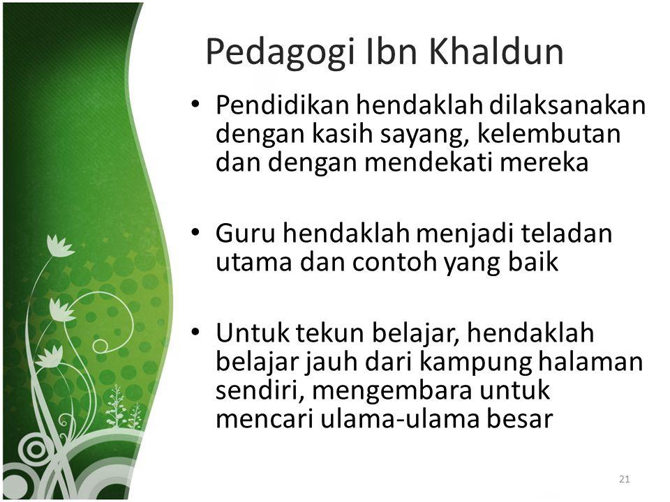 Pedagogi Ibn Khaldun Pendidikan hendaklah dilaksanakan dengan kasih sayang, kelembutan dan dengan mendekati mereka.
