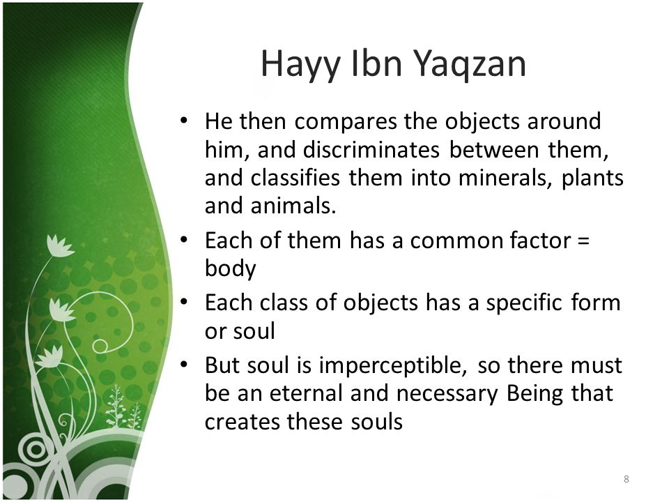 Hayy Ibn Yaqzan He then compares the objects around him, and discriminates between them, and classifies them into minerals, plants and animals.