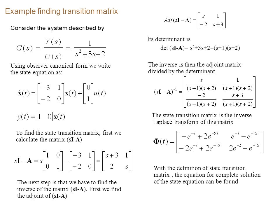 Example finding transition matrix