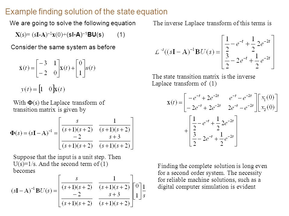 Example finding solution of the state equation