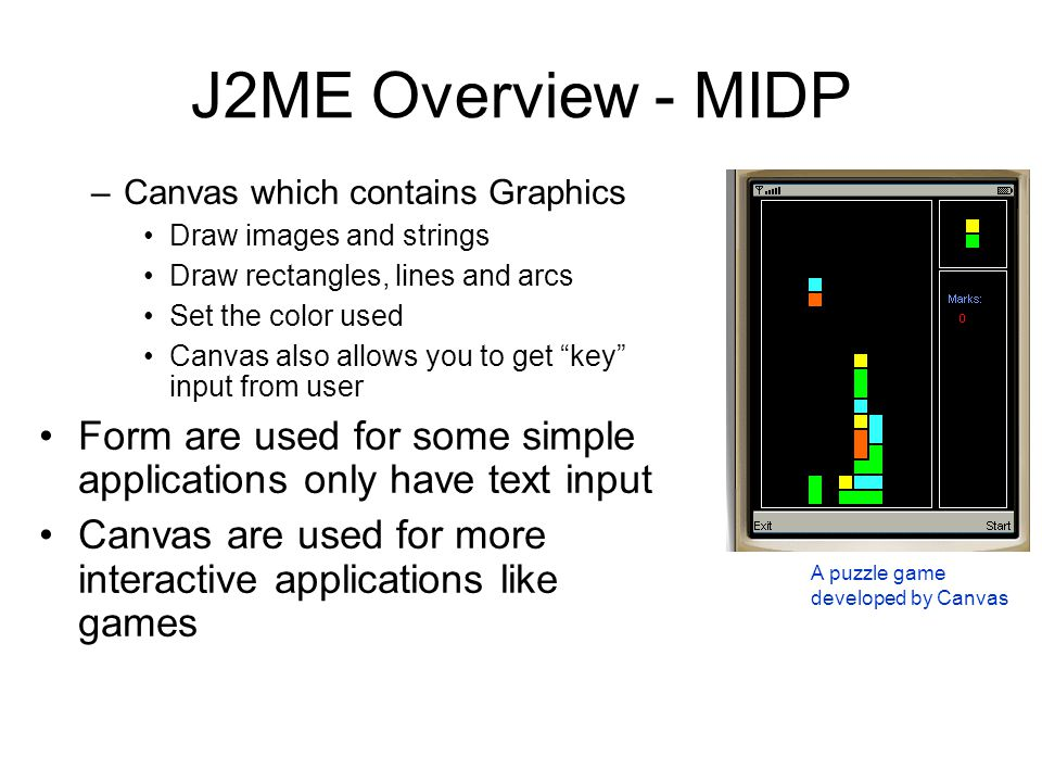 J2ME Overview - MIDP Canvas which contains Graphics. Draw images and strings. Draw rectangles, lines and arcs.
