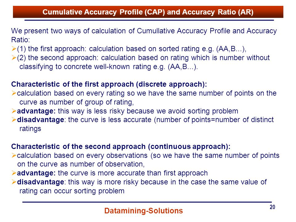 Cumulative Accuracy Profile (CAP) and Accuracy Ratio (AR)