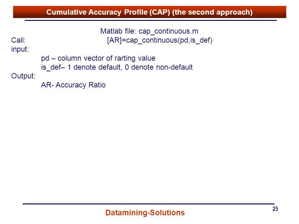 Cumulative Accuracy Profile (CAP) (the second approach)