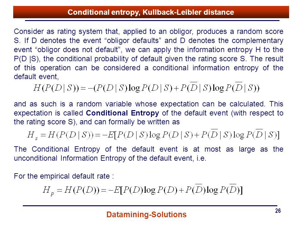 Conditional entropy, Kullback-Leibler distance