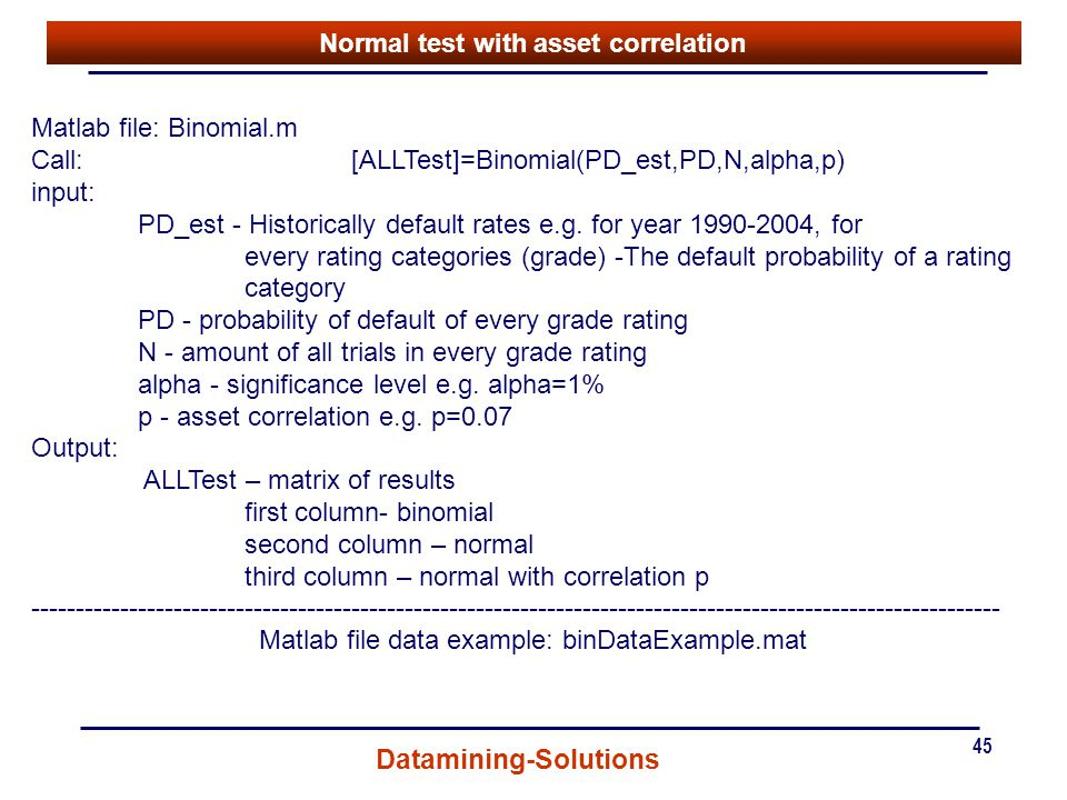 Normal test with asset correlation